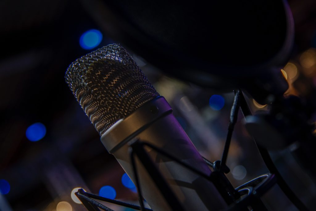 Microphone with a mesh wind screen
